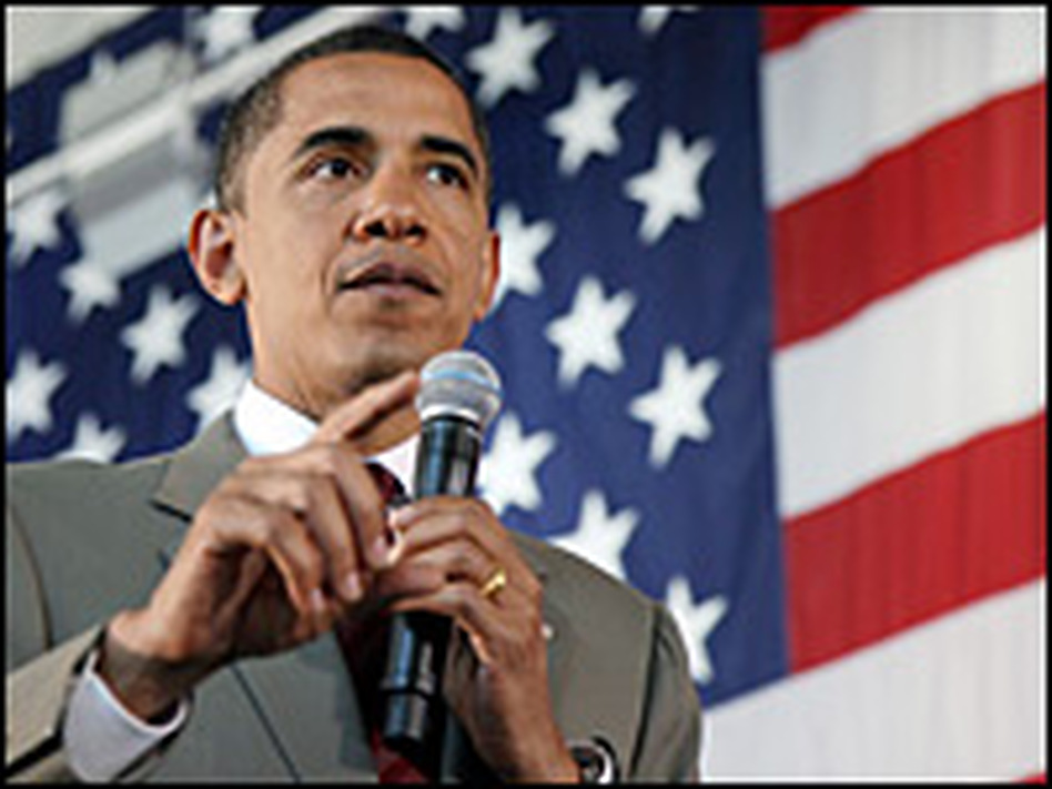 Democratic Sen. Barack Obama addresses the College of Southern Navada on May 27, 2008.