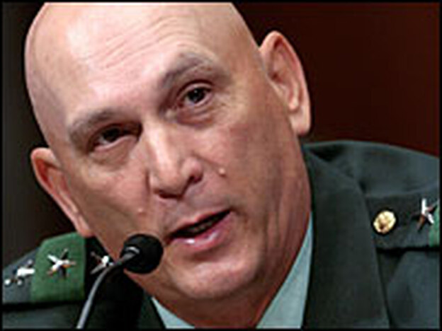 U.S. Army Lt. Gen. Raymond Odierno testifies before the Senate Armed Services Committee during his confirmation hearing May 22.