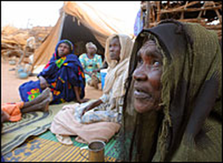 Sudanese refugees in their shelter at the Farchana refugee camp on June 26.
