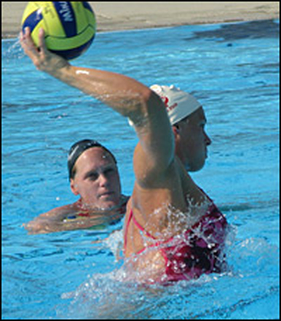 Attacker Natalie Golda shows the power behind water polo shots during a team scrimmage.