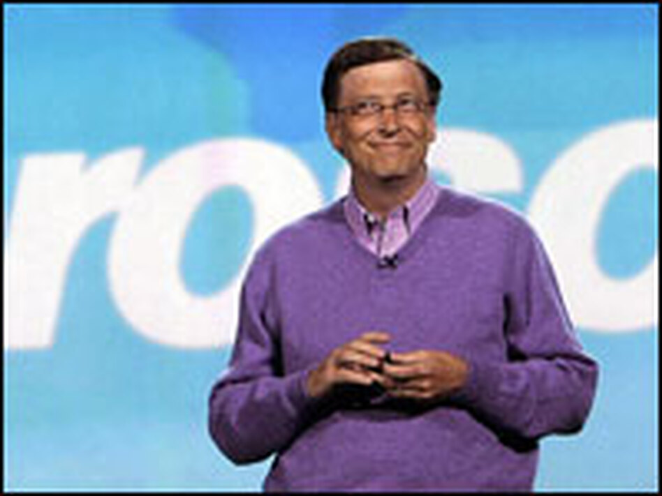 Gates speaks at the 2008 Consumer Electronics Show, his final appearance at the event as a Microsoft executive.