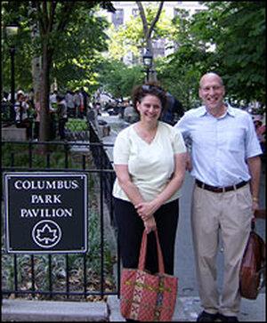 Bonnie Yochelson and Daniel Czitrom  stand in Columbus Park in Lower Manhattan.