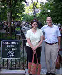 Bonnie Yochelson and Daniel Czitrom  stand in Columbus Park in Lower Manhattan.