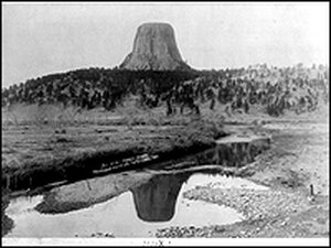 Distant view of Devils Tower, 1890