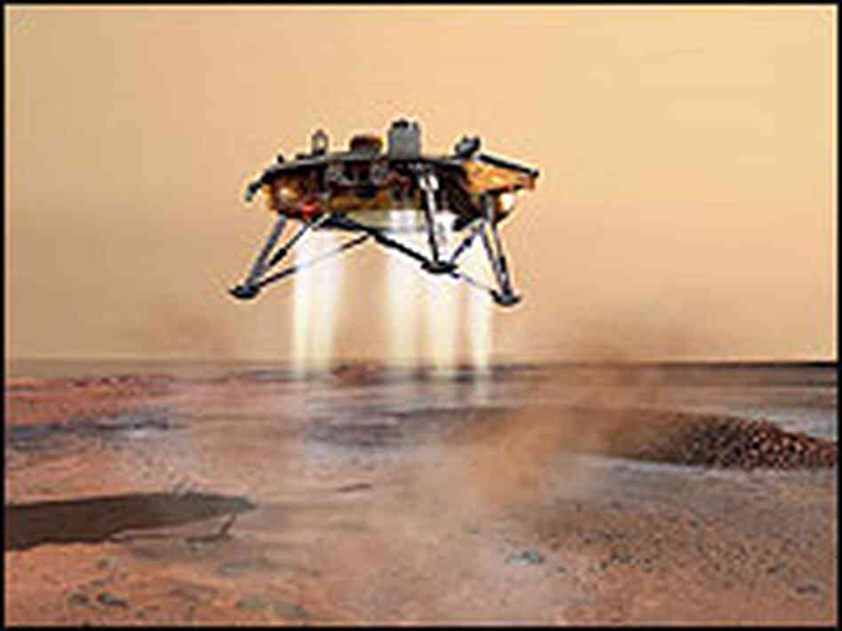Artist's depiction of the Phoenix lander touching down on Mars