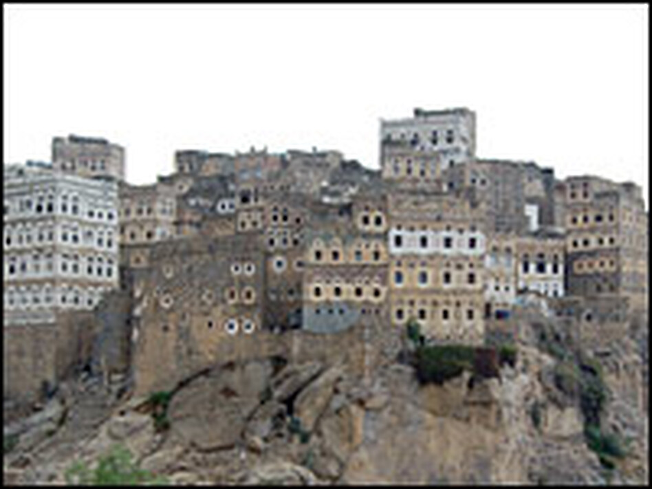 The village of Hajjarah is perched precariously on a stone cliff, accessible only by footpath.
