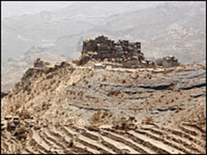 Parched hillsides of the Haraz Mountains west of Sana'a, Yemen