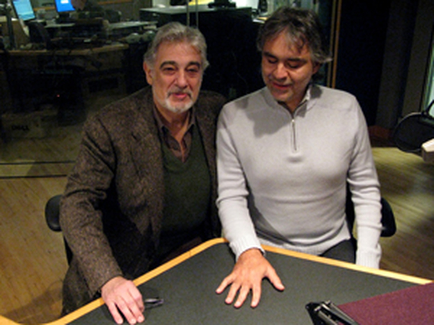 Placido Domingo and Andrea Bocelli in the NPR studios.