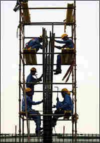 Laborers at a construction site in Dubai.