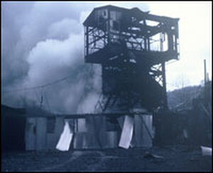 Smoke billows from a mine portal after the explosion in the No. 9 mine in Farmington, W.Va.