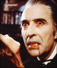 English actor Christopher Lee as the blood-sucking Count in 'Dracula A.D. 1972'