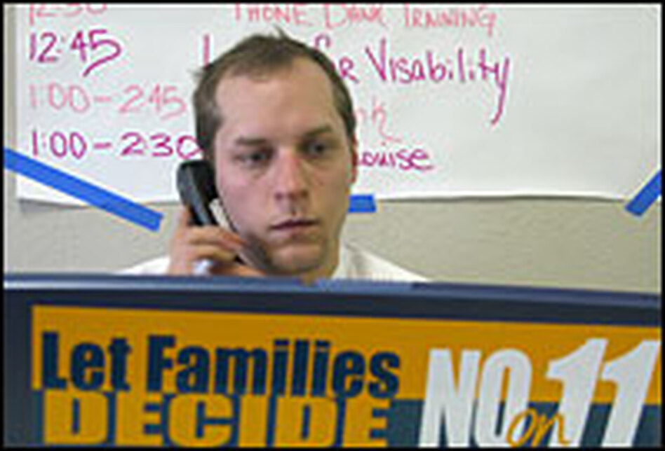 Craig O'Connor, a volunteer for the Campaign for Healthy Families,  contacts prospective voters by phone.