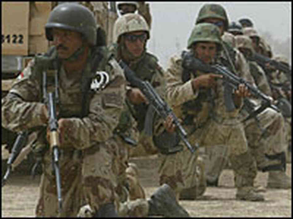 Iraqi soldiers search for insurgents south of Baqubah.