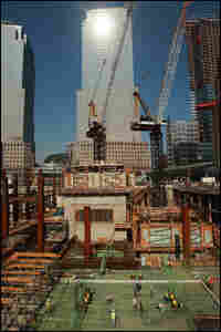 Construction workers continue to build the foundation of the Freedom Tower.