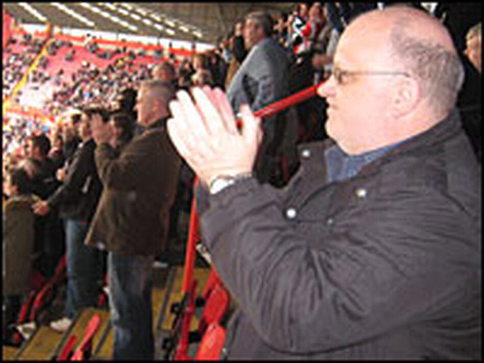 Steve Bailey, 51, cheers on his local soccer team, Charlton Athletic. He and his family moved from London to the Canterbury area long ago because of increased immigration.