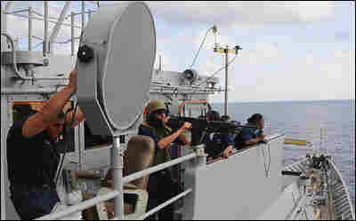 The LRAD, long ranging acoustic device, is used to deter bad guys with sound.