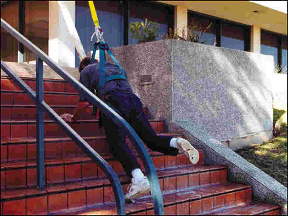 A man slips on stairs sprayed with an anti-pirate slick foam