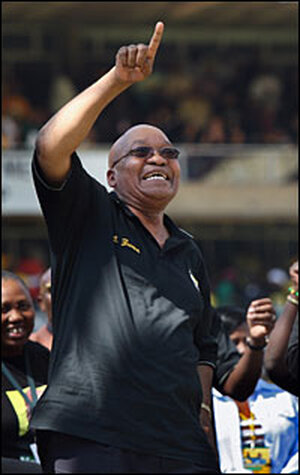 African National Congress presidential favorite Jacob Zuma at a campaign rally, April 19.