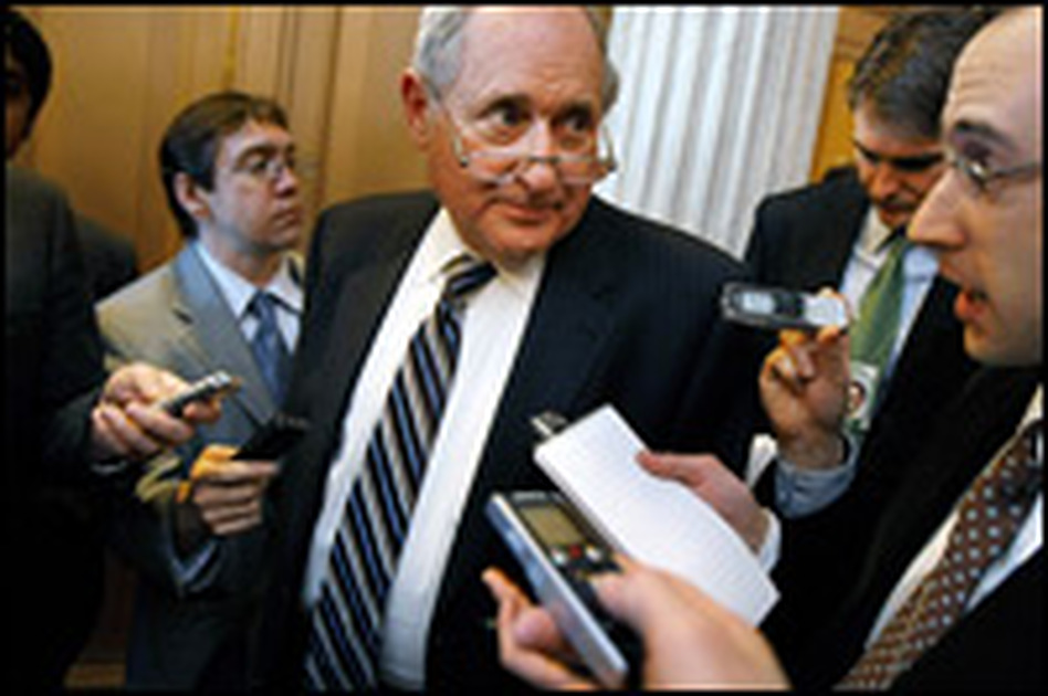 """Sen. Carl Levin, chairman of the Senate Armed Services Committee, talks with reporters Feb. 6 about the economic stimulus legislation. Given the economic crisis and the situations in Iraq and Afghanistan, Levin says he doesn't think repealing the Clinton-era """"don't ask, don't tell"""" law will be an early priority for lawmakers."""