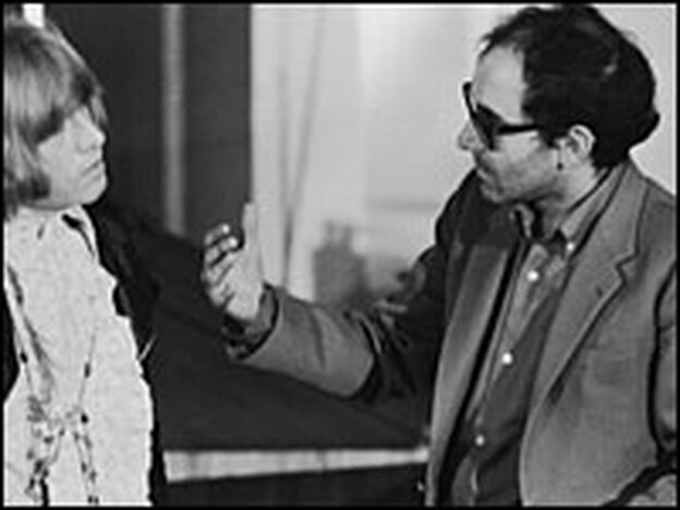 New Yorker Films championed the work of director Jean Luc-Godard (right, with Brian Jones of The Rolling Stones) — not the popular Godard of  <em>Sympathy For The Devil.</em>