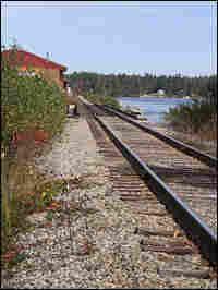 The train tracks in Lebanon, Maine, where two teenaged girls were hit.