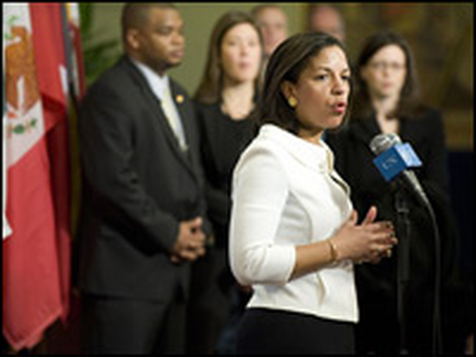 Susan Rice answers reporters' questions at her first press conference as ambassador to the United Nations, last month in New York.