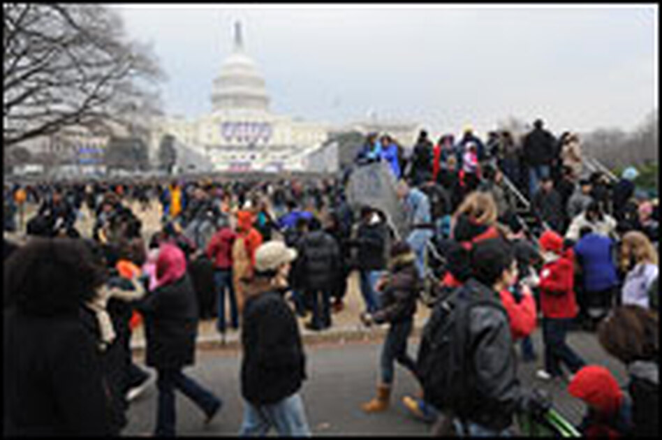 Throngs of people visited the National Mall near the Capitol Building Monday.