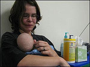 Emily Spahr and her baby Owynn.  Owynn suffers developmental delays.