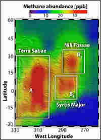 Red marks the presence of methane gas near an area called Nili Fossae