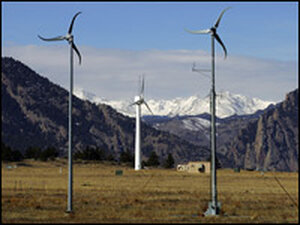 Wind turbines at the National Renewable Energy Laboratory Wind Farm near Boulder, Colo.