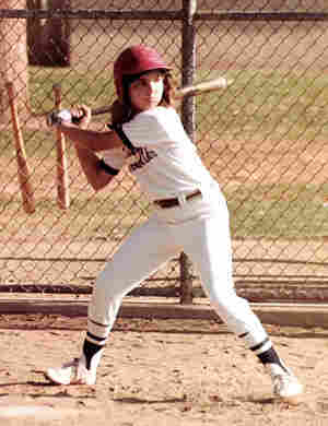 Maia Sharp steps up to bat at age 11 in 1982.