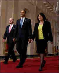President Obama walks with Judge Sonia Sotomayor and Vice President Biden.