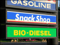 Biofuel sign at a gas station.