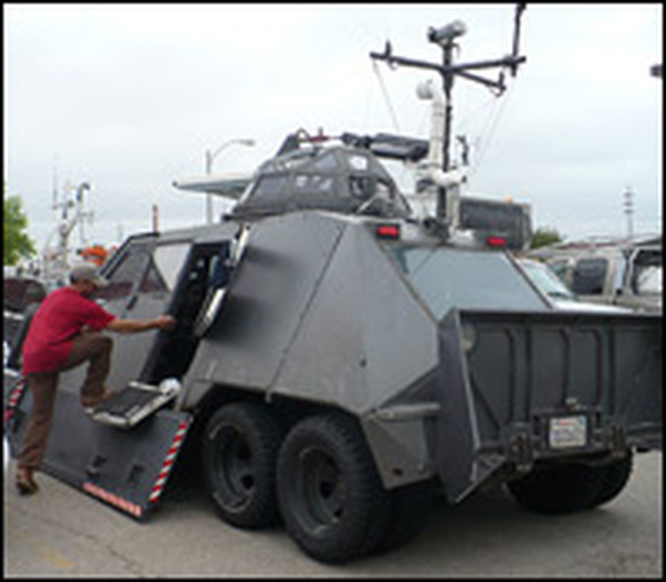 "Filmmaker Sean Casey made this tornado intercept vehicle, or TIV, in front of his house in Studio City, Calif. ""Tornadoes, you know, they're magical,"" Casey says."
