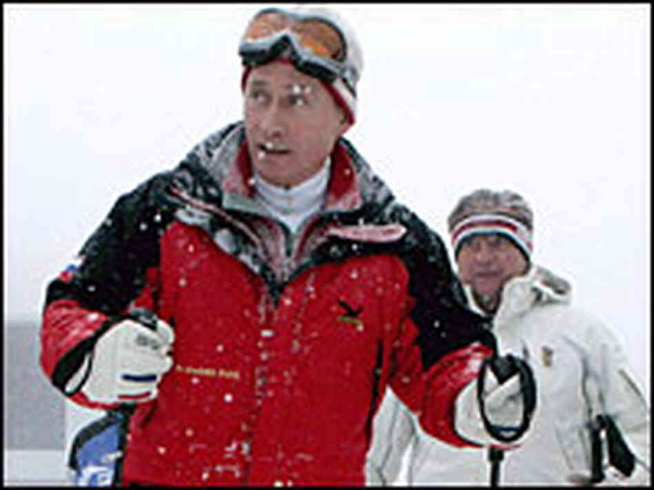Vladimir Putin skiing during a visit to the mountains near Sochi