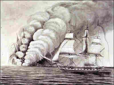 A drawing of the HMS Sabrina encountering the eruption