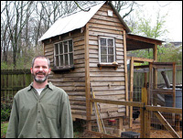 Jonathan Watts Hull, with a coop he made of mostly recycled materials. It shows the kind of rustic look you can get if you make your own coop.