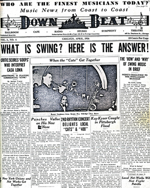 The April 1936 issue of Down Beat magazine featured Benny Goodman (with Gene Krupa, Roy Eldridge and Chu Berry) in its lead photo.