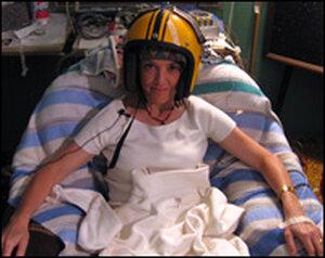 Barbara Bradley Hagerty tried on Michael Persinger's 'God helmet' at Laurentian University