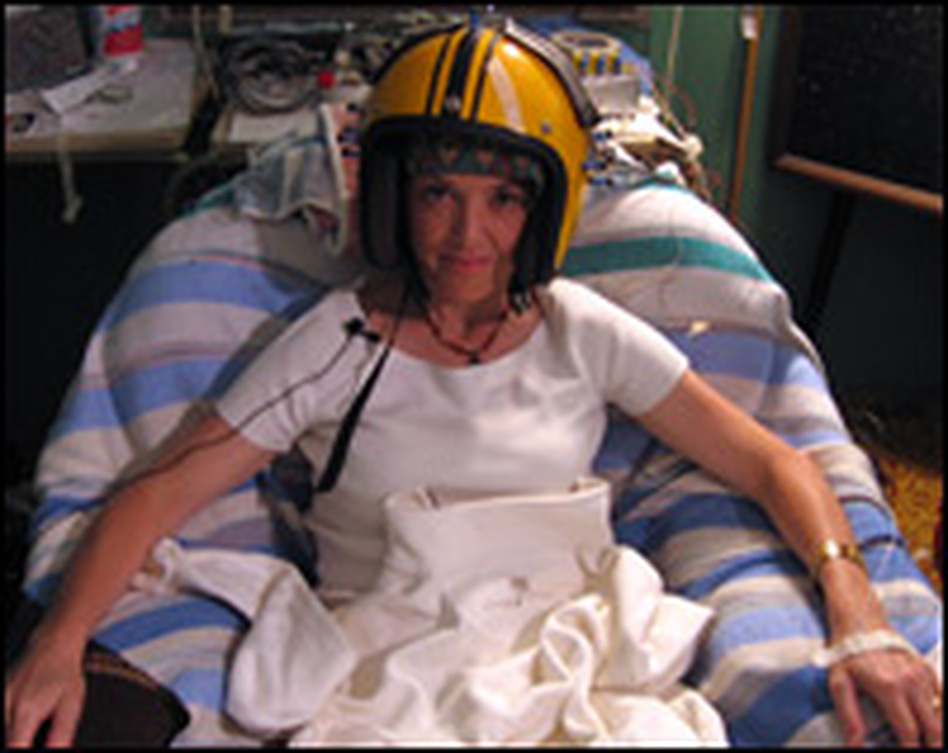 "Barbara Bradley Hagerty tried on Michael Persinger's ""God helmet"" at Laurentian University to see if he could manufacture a spiritual experience by manipulating her temporal lobes."