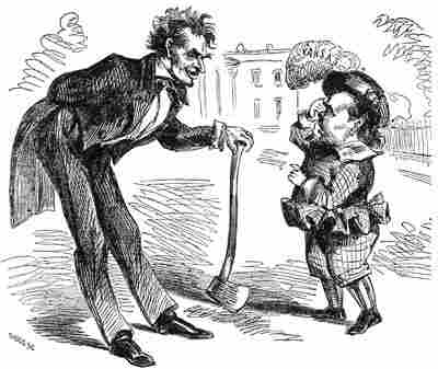 A cartoon of Abe Lincoln and Stephen Douglas before the presidential race.