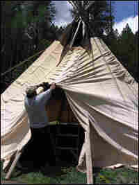 Peyote ceremony organizers set up a teepee