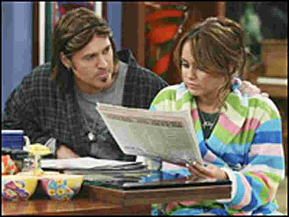 Billy Ray Cyrus and Miley Cyrus in a scene from 'Hannah Montana'
