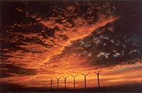 sunrise over turbines