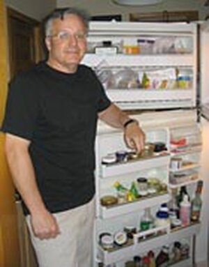 Author Greg Critser shows off the contents of his refrigerator