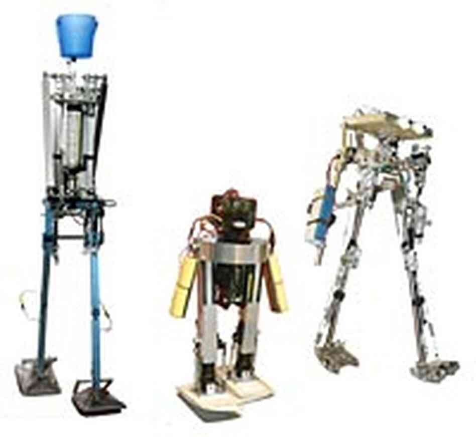 Left to right: Delta, MIT and Cornell walking robots.