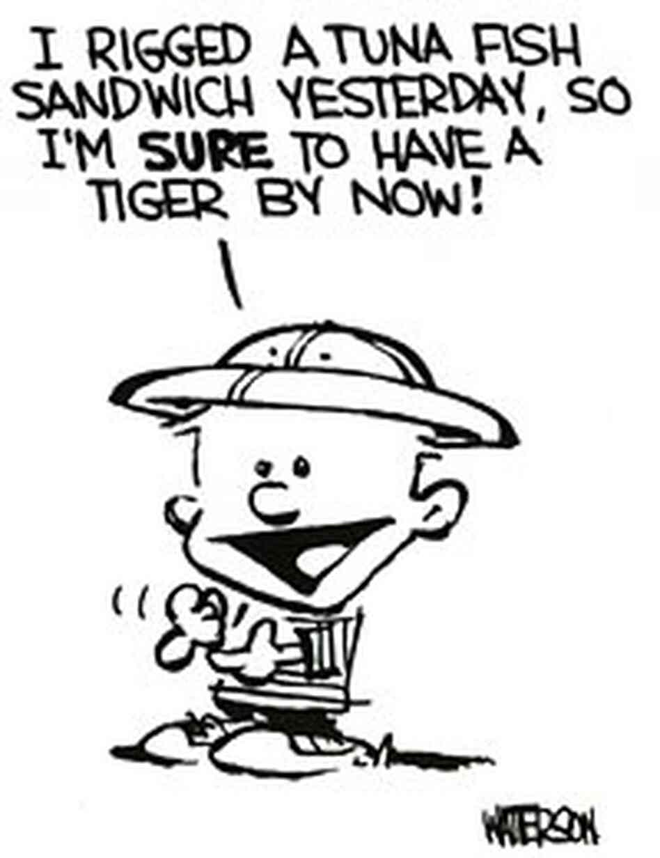 Detail from the first-ever strip, appearing Nov. 18, 1985. Credit: Bill Watterson.
