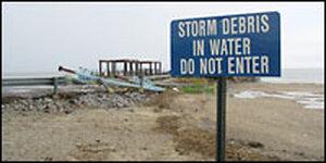 A beach sign in Waveland, Miss. Credit: Howard Berkes, NPR.