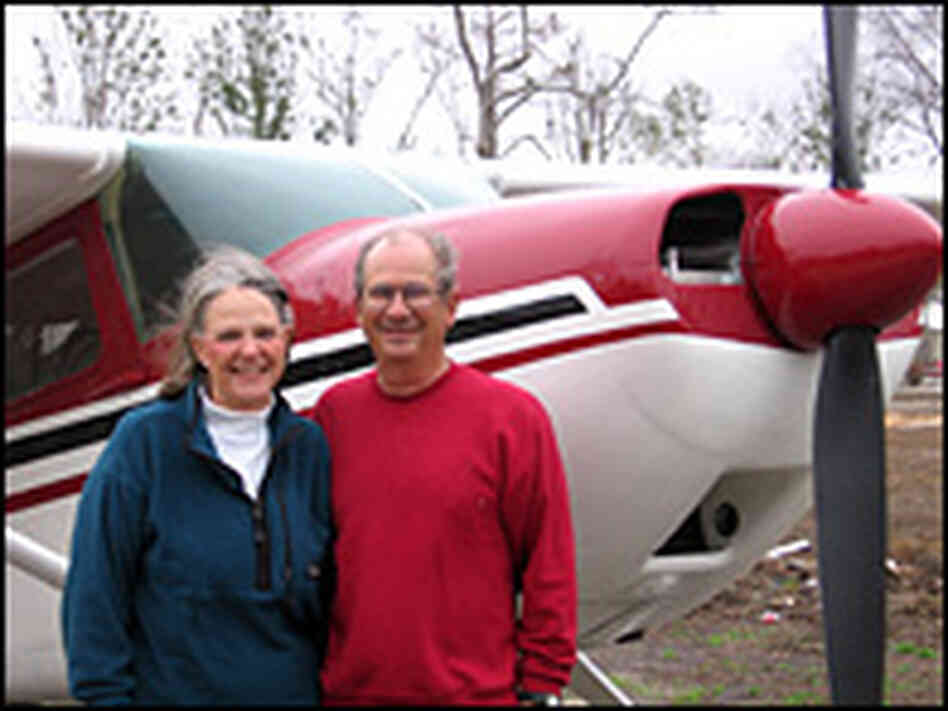 Lee Taylor and his wife Jane in front of their 1955 Cessna 180.