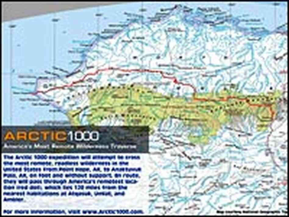 The route of the Arctic 1000 trek goes started at the coast to a remote area.